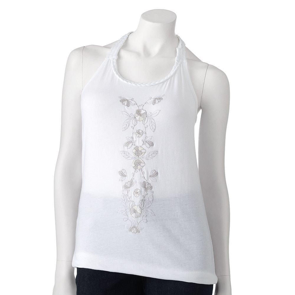 Juniors Teens Floral Embroidered Braided White Tank Top Shirt by SO Sz Large L $20.00 NEW