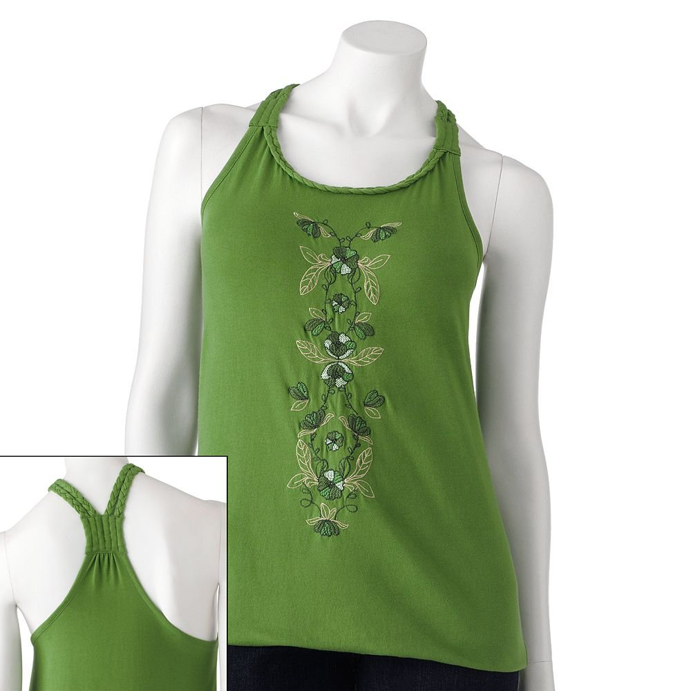 Juniors Teens Floral Embroidered Braided Green Tank Top Shirt by SO Sz Large L $20.00 NEW