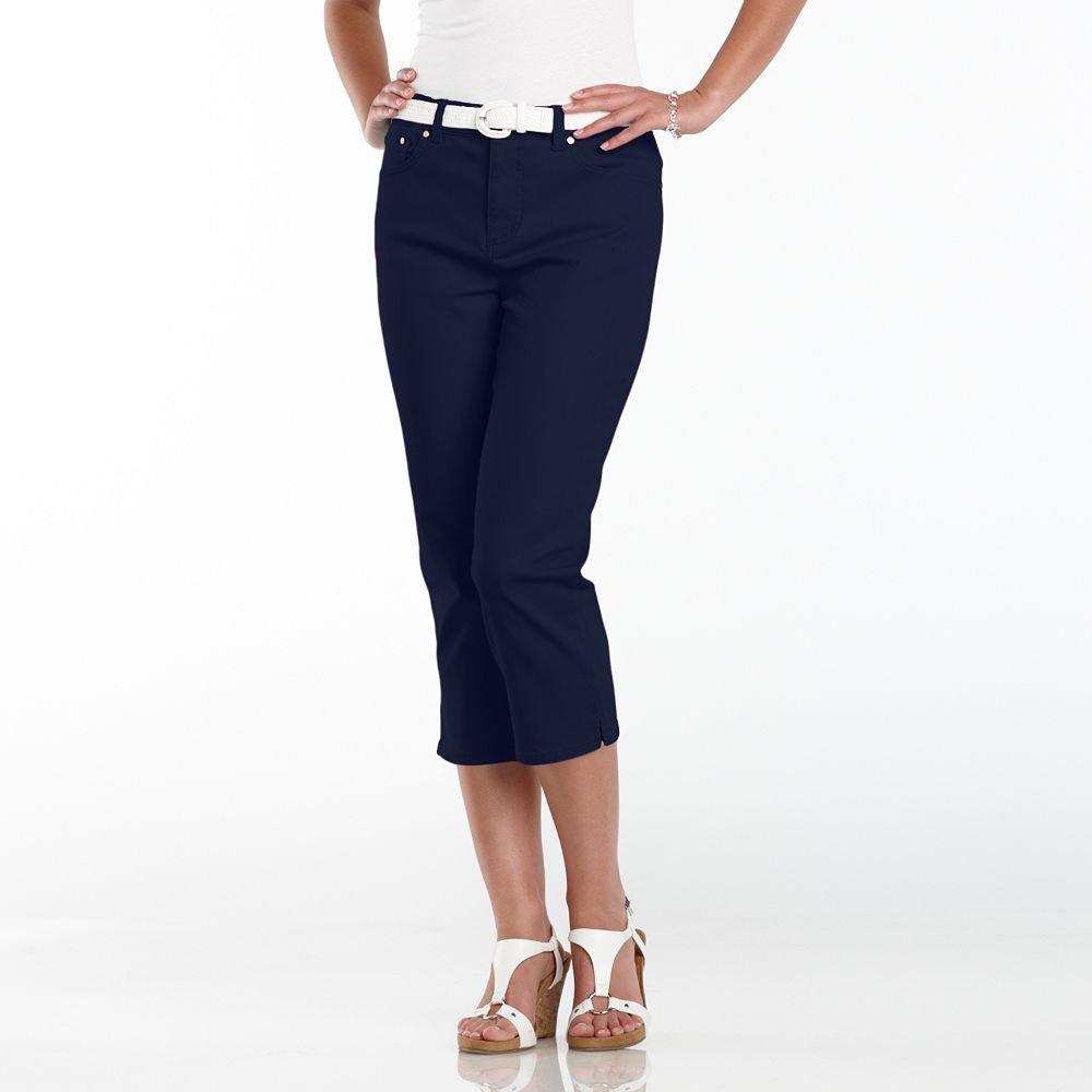 NWT Chaps Brand Womens Capris Capri Pants Sz. 4 Petite Navy Blue $55.00