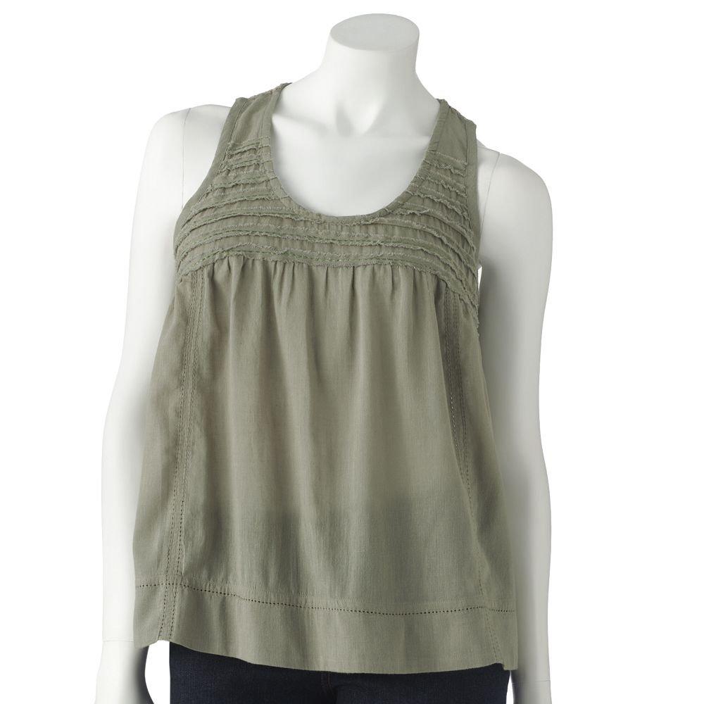 Juniors Teens Girls Green Crochet Tiered Tank Top by MUDD Sz Small or S $30.00 NEW