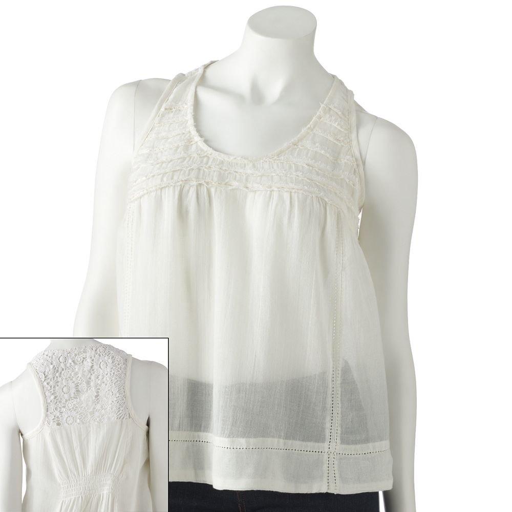 Juniors Teens Girls White Crochet Tiered Tank Top by MUDD Sz Medium or M NEW