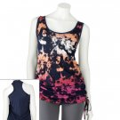 Juniors Teens Girls Navy Blue Watercolor Tank Top by Hang Ten Sz Large or L $24.00 NEW