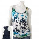 Juniors Teens Girls White Base Watercolor Tank Top by Hang Ten Sz Large or L $24.00 NEW