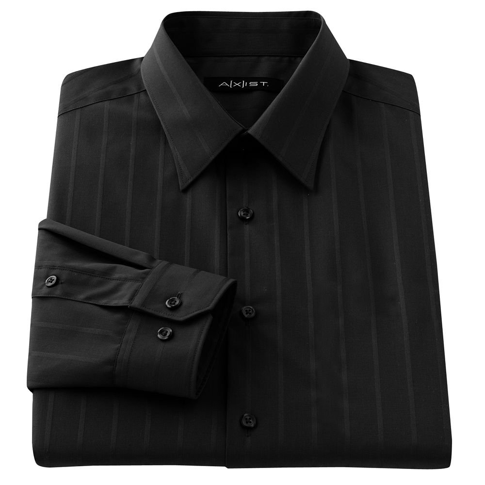 Mens Dress Shirt Axist Slim Fit Striped Dress Shirt No-Iron Black 17.5-36/37 NEW
