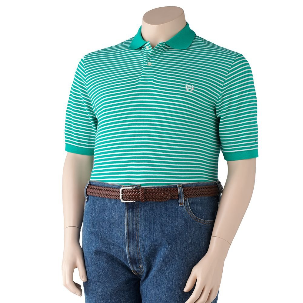 NEW Striped Pique Polo Shirt Mens Short Sleeve Sz 3XT Tall Chaps $51.00