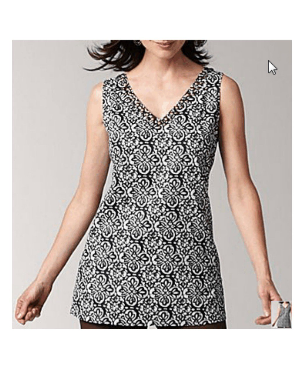 Liz Claiborne V-Neck Tunic Shirt Top Embellishment Size Medium M Navy Blue NEW