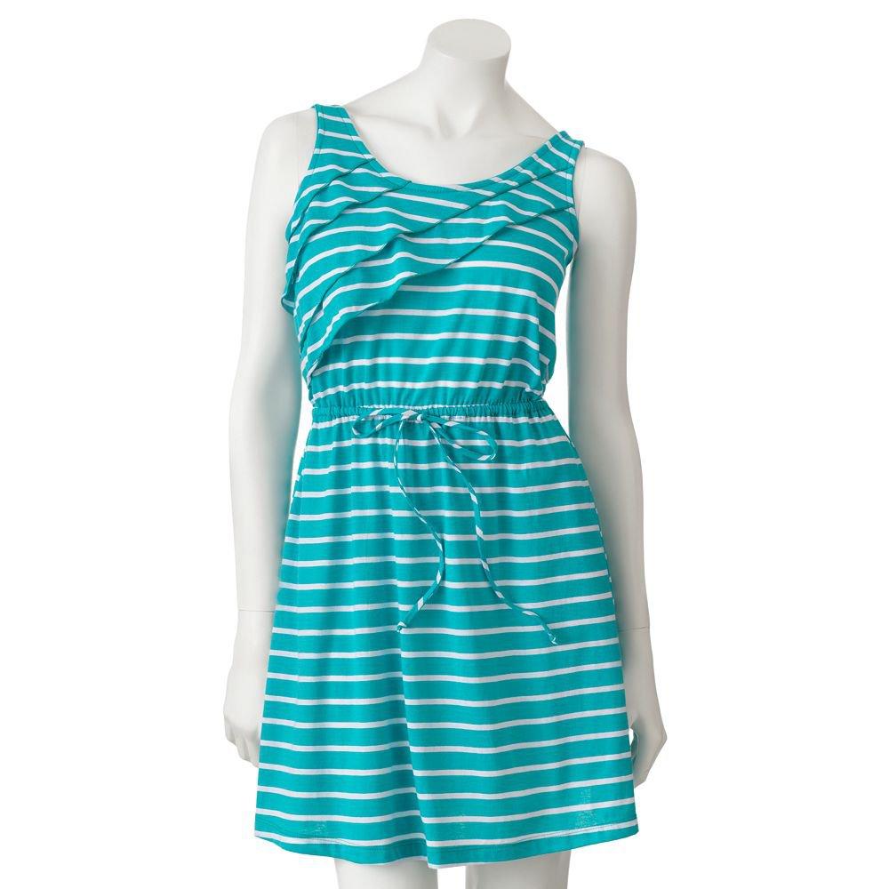 Self Esteem Green & White Striped Ruffle Dress Size Medium or M Tie Waist NEW