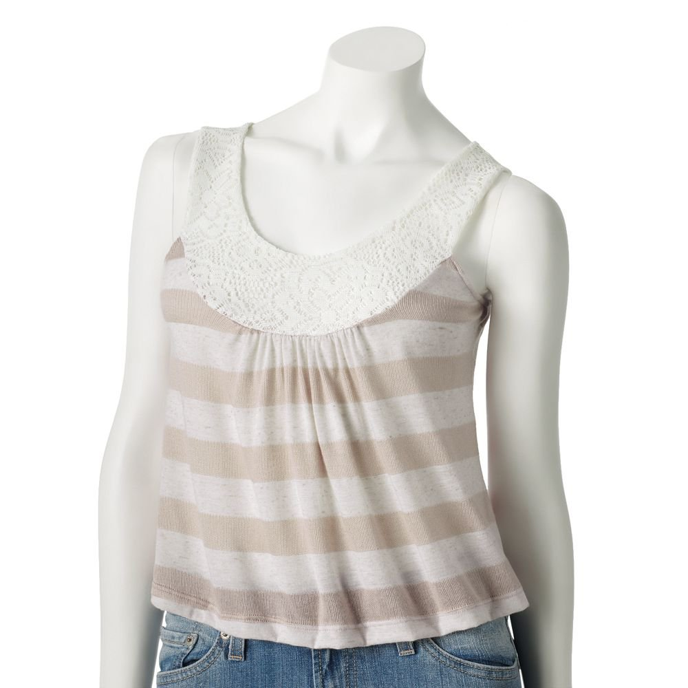 Juniors Teens Khaki Striped Lace Trim Crop Top Shirt Sz Large $36.00 NEW