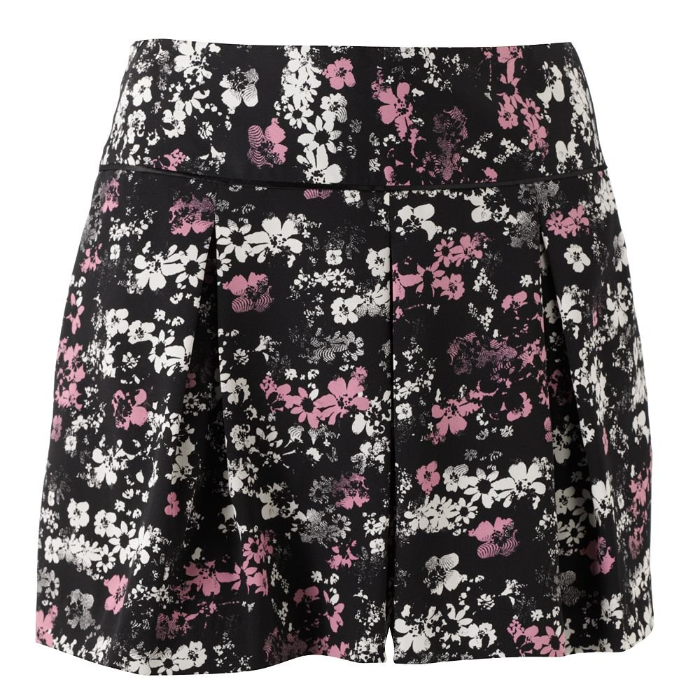 Womens Black Floral Pleated Dress Shorts by Elle Sz 14 - $40 - NEW