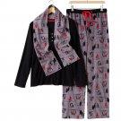 Croft & Barrow Fleece Pajama Set Black Gray Red Extra Large XL 3 Pc Set $44 NEW