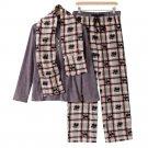 Croft & Barrow Fleece Pajama Set Gray White Red Black Large L 3 Pc Set $44 NEW