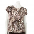 Juniors IZ Byer California Charmeuse Abstract Top Shirt Large L NEW $42.00