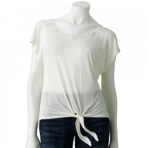 Juniors Teens Antique White Eyelet Crop Top Shirt by Candies Sz L Large $38.00 NEW