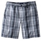 NEW Mens Plaid Shorts in Gray Sz. 40 Flat Front Croft and Barrow $36.00