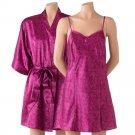 Purple Satin Kimono Wrap + Chemise Nightgown by Apt 9 Sz Medium or M $44 NEW