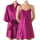 Purple Satin Kimono Wrap + Chemise Nightgown by Apt 9 Sz Large or L $44 NEW