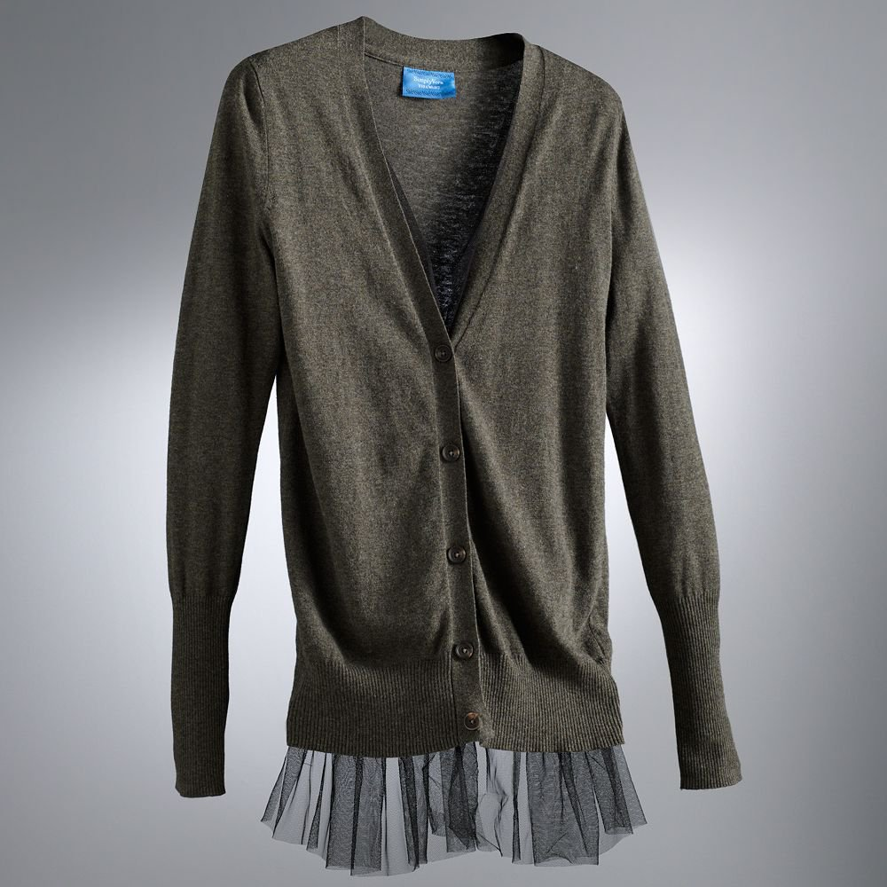 Womens Gray Tulle Cardigan Sweater by Vera Wang Size Petite Medium or PM $64 NEW