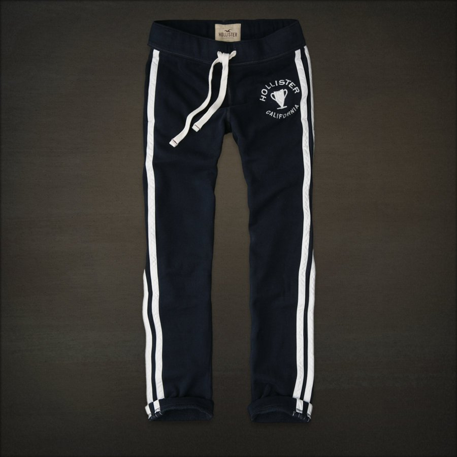 Mens Hollister Slim Straight Sweat Pants Sweatpants NAVY Small S Side Stripes Cali HCO NEW