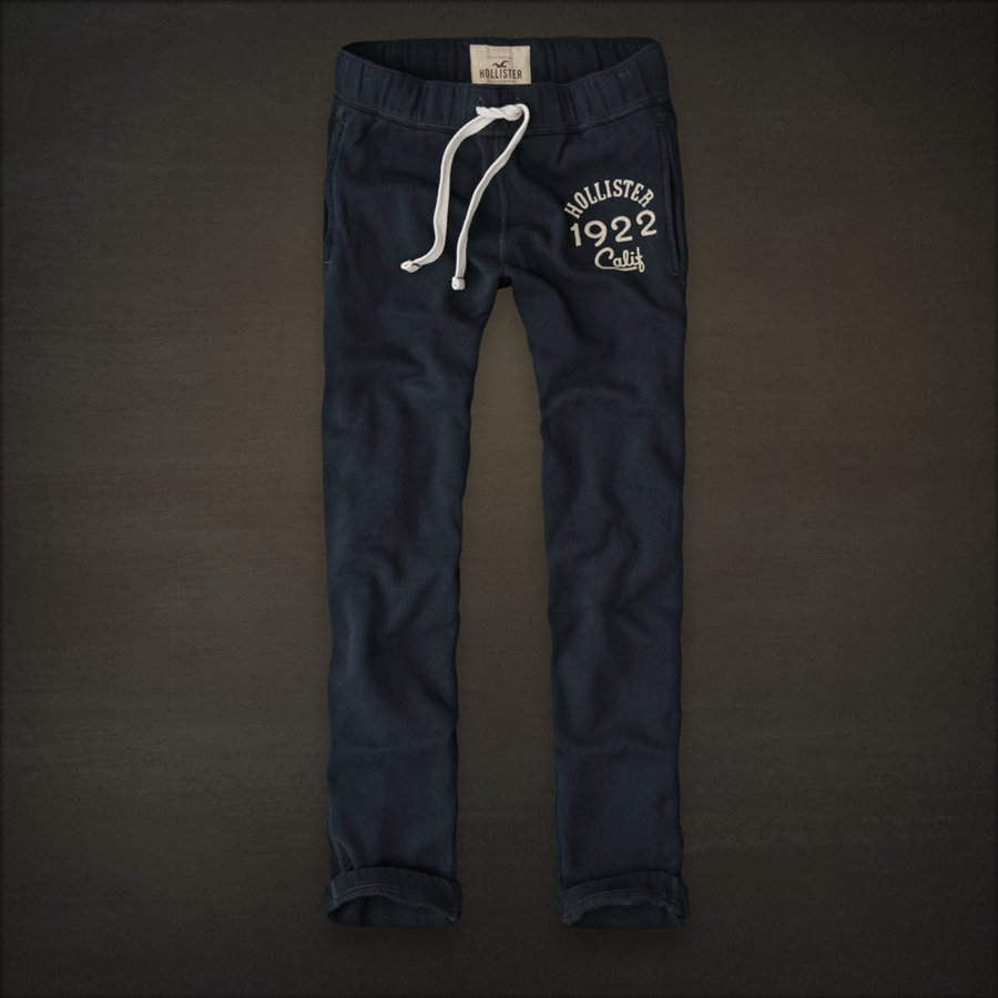 Mens Hollister Slim Straight Sweat Pants Sweatpants Dark Navy Blue Small S 1922 HCO Cali NEW