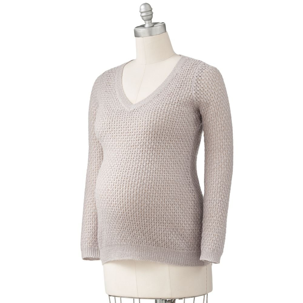 Womens Maternity Lurex Pointelle Sweater Sz L or Large Oh Baby Maternity Gray $60  NEW