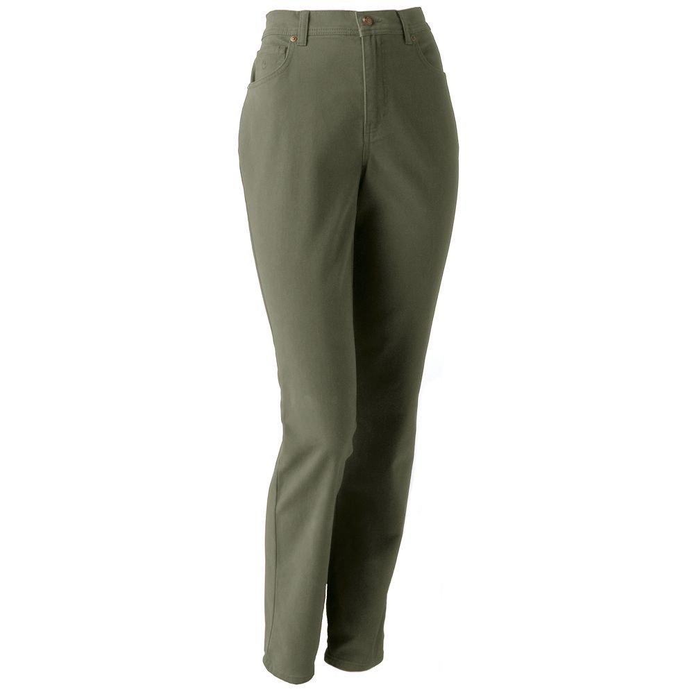 NEW Gloria Vanderbilt Amanda Stretch Army Olive Green Colored Jeans Size 14P Short $35.00