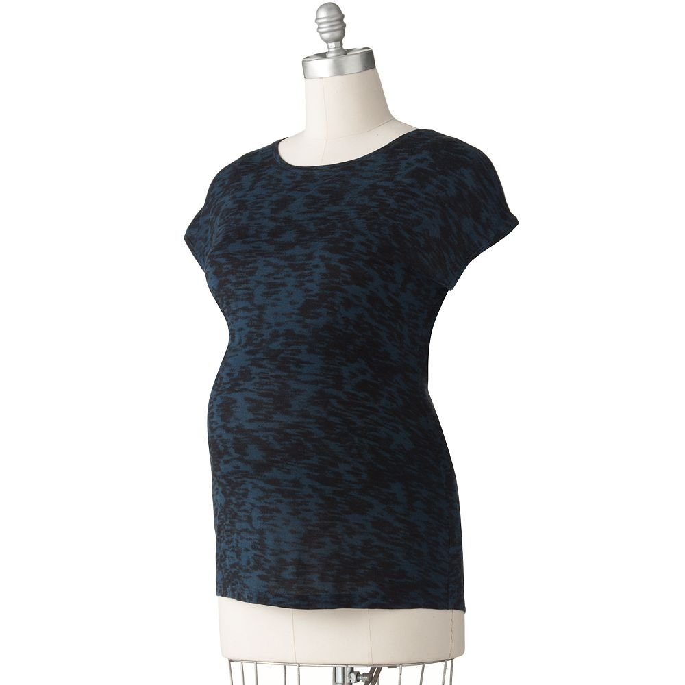 NEW Womens Maternity Brushstroke Tunic Top or Shirt Sz XL Extra Large Black Blue NEW $40