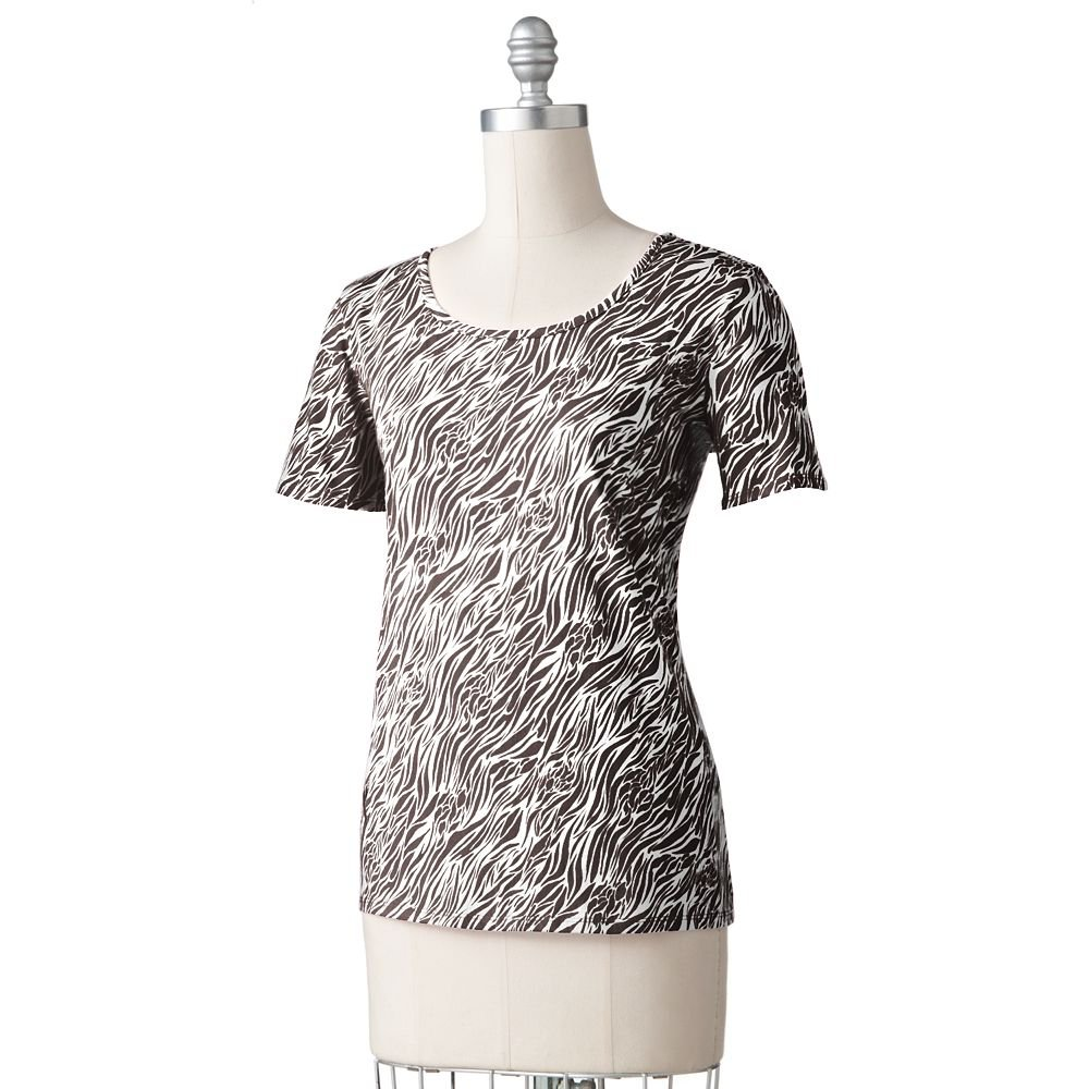 Dana Buchman Womens BCA Breast Cancer Awareness Tee Shirt Top Brown Zebra Plus 2X NEW