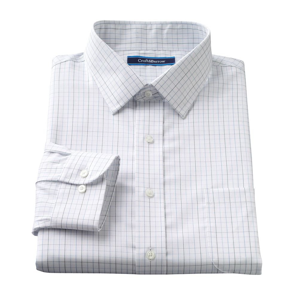 Mens Croft & Barrow Plaid Classic-Fit No-Iron Button-Down Collar Dress Shirt 17.5 32/33 NEW