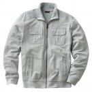 Apt 9 Slubbed Track Athletic Jacket Mens Zip Front Jacket Sz XXL or 2XL Light Gray $70 NEW
