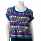 Take Out Large or L Bright Blue Zigzag Pullover Sweater Juniors  NEW $44