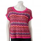 Take Out Large or L Bright Pink Zigzag Pullover Sweater Juniors  NEW $44