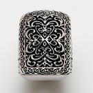 Silver Tone Large Design Black Filigree Ring Sz. 8 $22 NEW