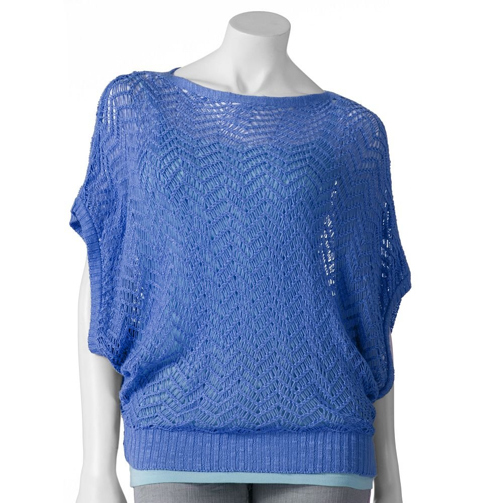 Juniors Blue Large Openwork Zigzag Short Sleeve Sweater by Say What  NEW $40.00