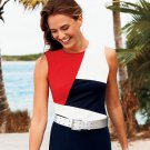 Chaps Womens Petite Medium PM Colorblock Tank Top Shirt Color Block  $45.00 NEW