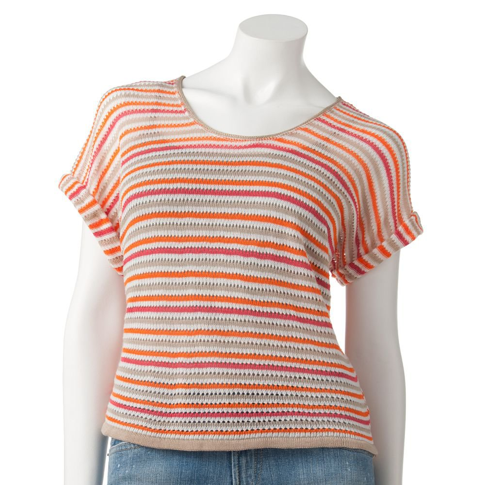 NEW Say What Juniors Orange Tan XL or Extra Large Striped Open-Stitch Top by Say What $36.00