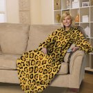 NEW Cheetah Print Fleece Comfy Throw Blanket with Sleeves by Hautman Brothers $35