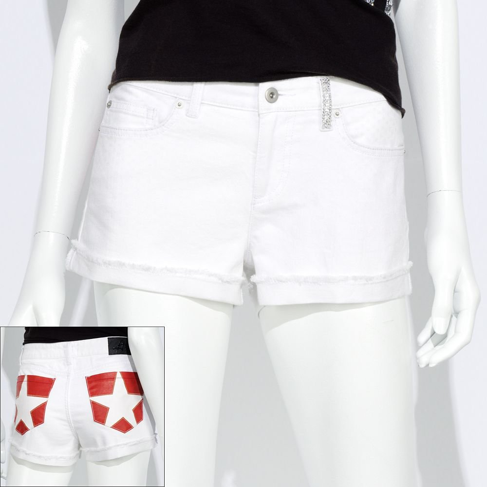 NEW Size 30 Juniors White Star Denim Jean Shortie Shorts by Authentic Icon $38.00 NEW