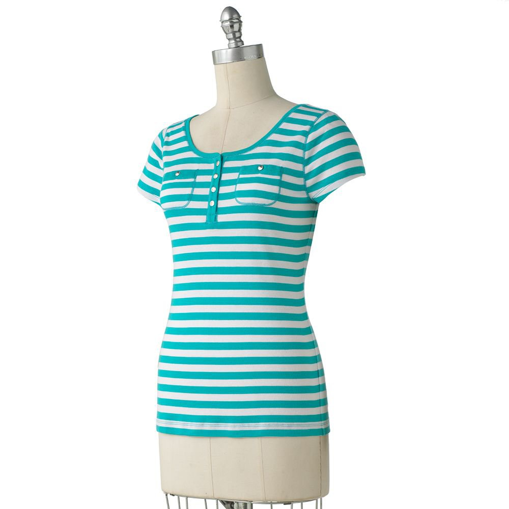 Chaps Small Womens Striped Henley Tee Top Shirt Button Front White Turquoise $45.00 NEW