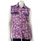 Juniors Womens Floral Cuffed Sequin Sleeveless Top Shirt by Candies Sz Large or L $38.00 NEW