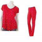 Womens Small S Lauren Conrad Red Dot Pants + Top PJ Pajama Set NEW