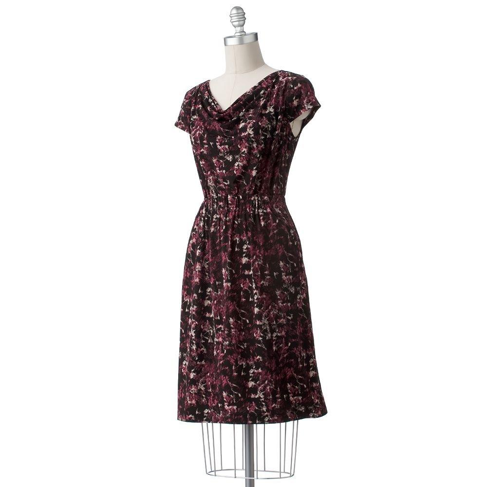 Womens Cowlneck Short Sleeve Dress Maroon Multi by Axcess Sz XL NEW