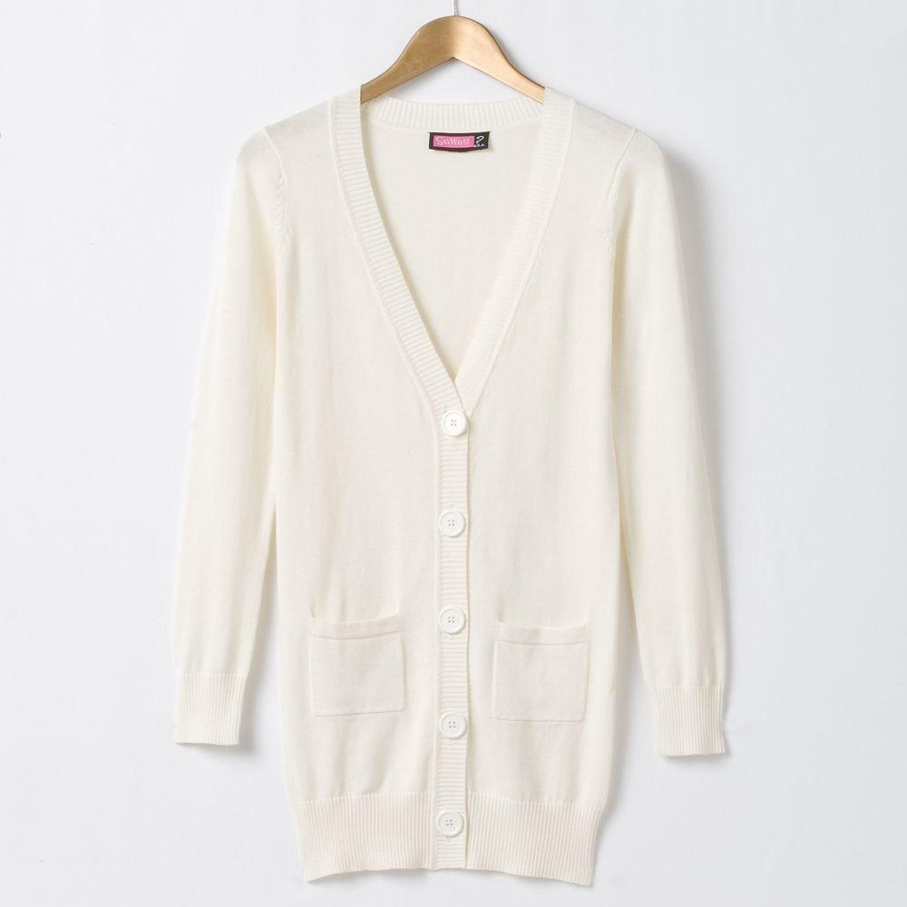 Juniors Medium M Boyfriend Cardigan Sweater by Say What Cream NEW