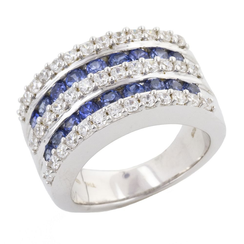 Sterling Silver Ring Sterling Silver 1.09-ct. T.W. DiamonLuxe & Sapphire Ring NEW BOX Sz. 8
