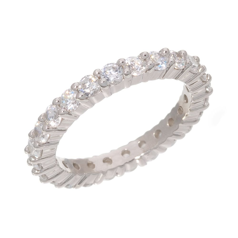 Sterling Silver Ring 1 1/2-ct. T.W. DiamonLuxe Eternity Band NEW BOX Sz. 8