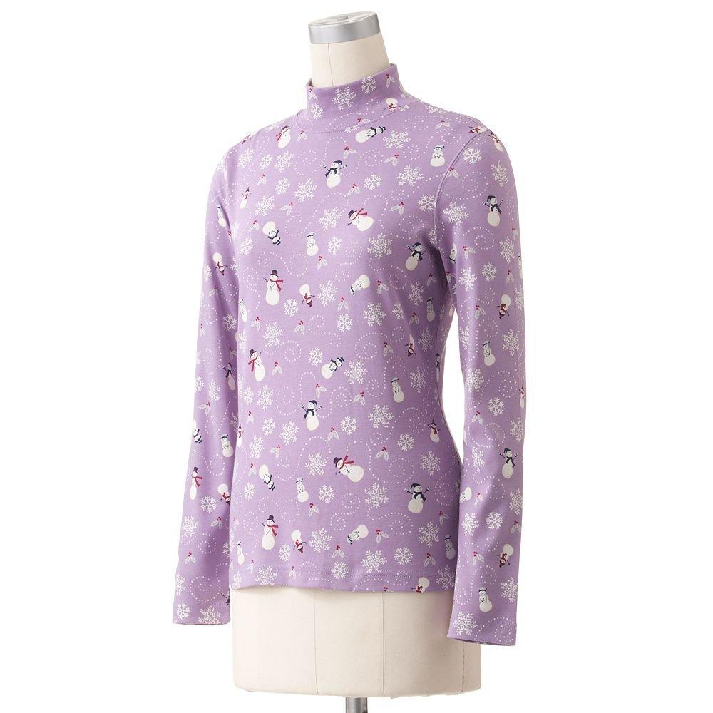 Croft Barrow Womens Small or S LS Purple Snowman Mockneck Essential Printed Tee or Top NEW
