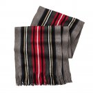 Mens Black & Red Van Heusen Raschel Stripe Knit Scarf NEW