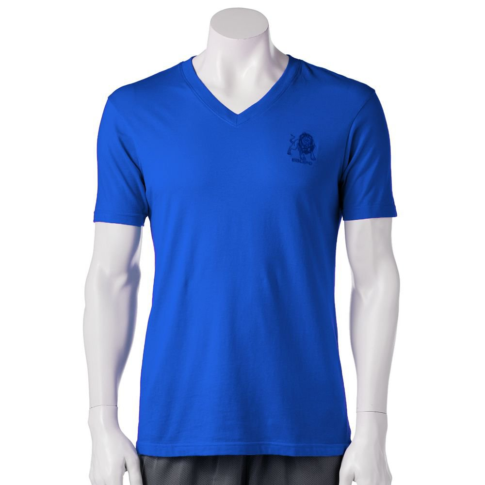 Mens Size Extra Large or XL equipo Solid V-Neck Tee Blue Logo NEW