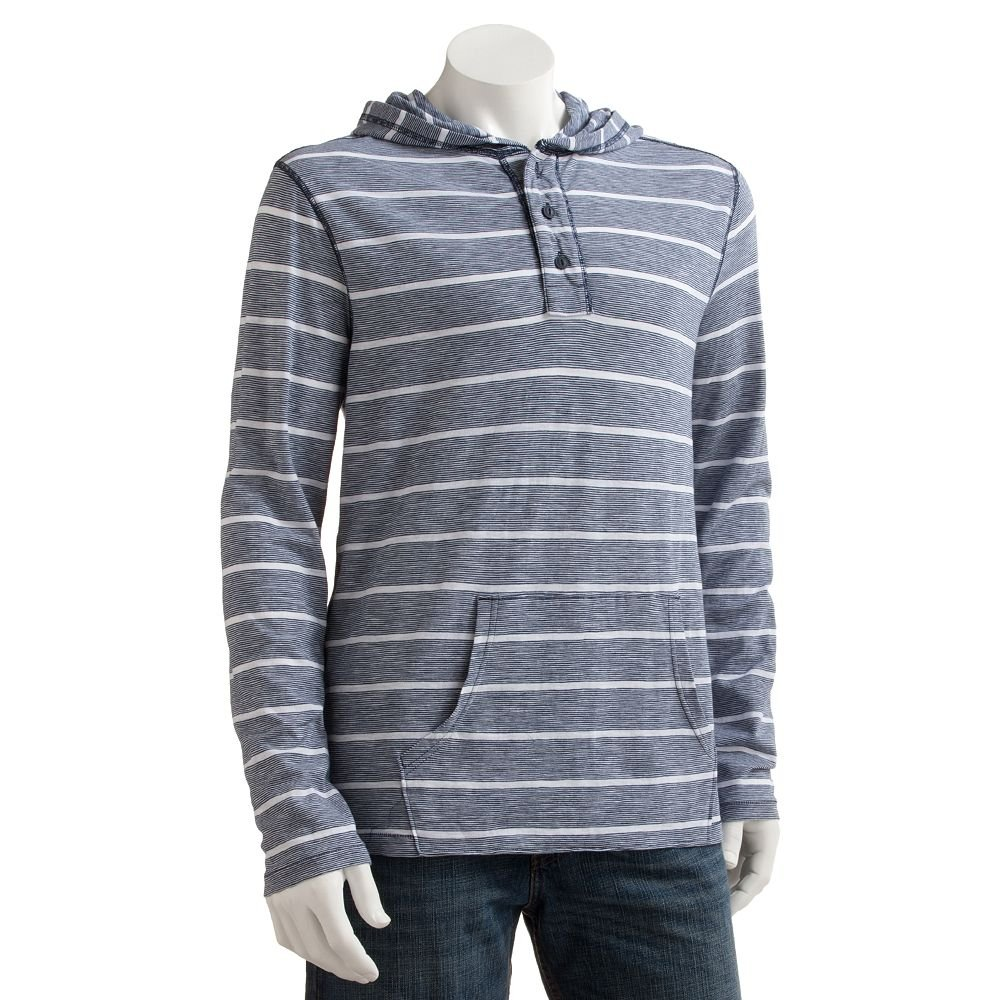 NEW Mens XL or Extra Large Navy Blue Henley Stripe Pop-Over Hoodie Hooded Jacket Sonoma $44.00