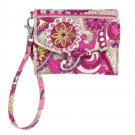 Vera Bradley Super Smart Wristlet Billfold Paisley Meets Plaid Pattern $38 NEW