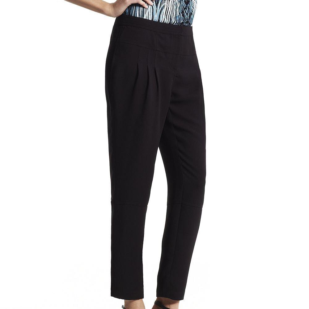 NEW Size 4 Derek Lam DesigNation Black Pleated Crepe Crop Pants